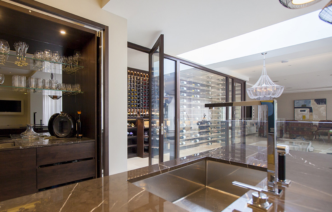 Wine cellar made with wenge and acrylic Cellar designs